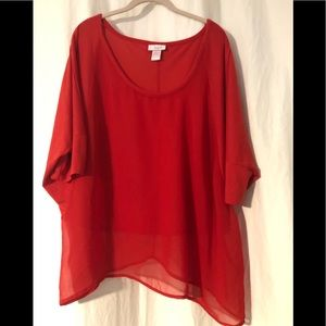 Red/orange cocoon partially sheer shirt size 17/19